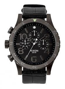 Ceas NIxon 48-20 Chrono Leather Black Gator A363 1886